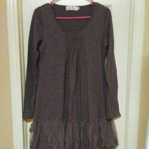 Southern Fried Chics Grey Lacy Ruffly Dress CUTE!
